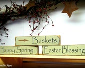 Wooden Spring - Easter Signs / Baskets -  Happy Spring - Easter Blessings / Set of 3 Shelf Sitters