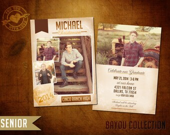 5x7 High School Senior Graduation Announcement - Bayou Senior (II)
