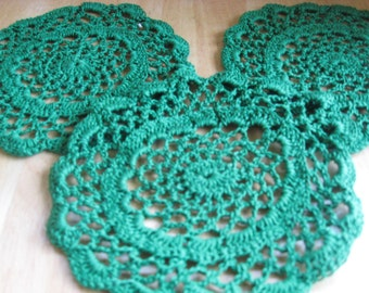 Emerald Crocheted Doily