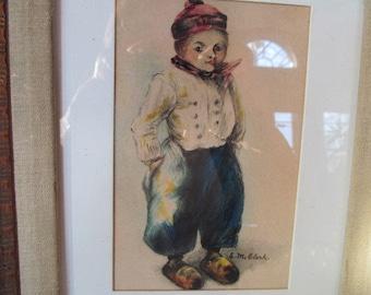 1930s Dutch boy painting watercolor