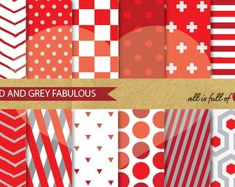 DIGITAL Paper Pack Red GREY Geometric Patterns Printable Scrapbook Background