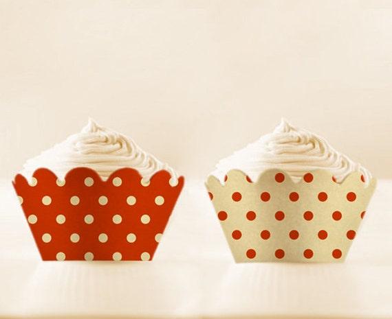 Polka Dots Holders Printable Cupcake Wrappers TANGERINE Liners Retro DIGITAL DOWNLOAD 12/15