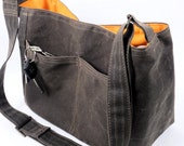 Brown Waxed Canvas Bag, City Tote Messenger Bag, Bucket Bag Vegan Leather Tote Handbag; Margeaux by WhiteCross Designs in USA