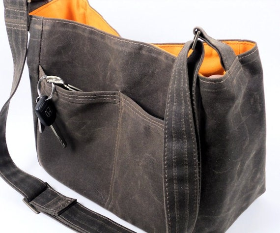 Brown Waxed Canvas Bag Vegan Leather City Tote Messenger