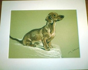 1937 Lucy Dawson Mac Snoodle Dachshund Vintage signed mounted dog plate/print Unique Christmas Thanksgiving Birthday dog lover gift