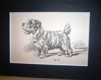 Sealyham terrier Vintage Mounted 1936 'Mac' Lucy Dawson Binkie dog plate print Unique Christmas Thanksgiving birthday dog lover gift