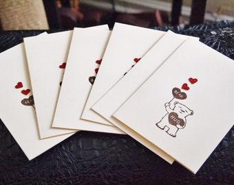 Note Cards Bear Hearts
