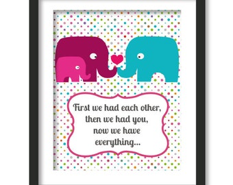 first we had each other, Nursery decor, elephant family, polka dots, anniversary art, baby shower decor, first we had art, kids wall art