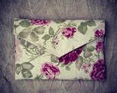 "12 inch MacBook case with pocket, macbook sleeve, 12 inch laptop case, floral pattern, eco friendly - ""envelope rose garden"""