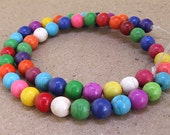 One Full Strand---Round Multicolor Turquoise Beads----8mm ----about 50Pieces----15.5inch strand