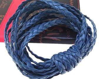 Handfasting Cord Leather Cord 7mm -- 3 Yards( 9ft ) -- Dark Blue Leather Cord The hand-braided cord
