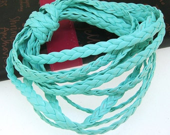 Handfasting Cord Leather Cord 7mm -- 3 Yards( 9ft ) -- Sea Blue Leather Cord The hand-braided cord weave Cord