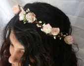 Woodland flower hair wreath (white pink rose) - Wedding headpiece, headband, vintage inspired rose crown, french ribbon pip berries