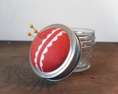 Mason Jar Pincushion Lid -Tangerine Pincushion -  Lid - Pastry Line - Orange and White - REGULAR MOUTH