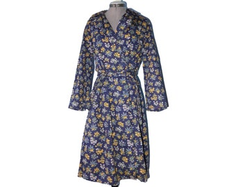 Awesome vintage full length floral belted trench coat - Liberty style print - belt, pink / blue / yellow / navy L 12 10 jacket