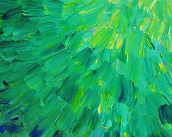 SEA SCALES in GREEN - Bright Green Fine Art Digital Print Ocean Waves Beach Mermaid Fins Scales Abstract Acrylic Painting