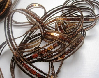 """Elastic Sequin Trim, 1/2"""" inch,  Brown, 1 yard, For Scrapbook, Mixed Media, Home Decor, Accessories, Stationary, Victorian & Romantic Crafts"""