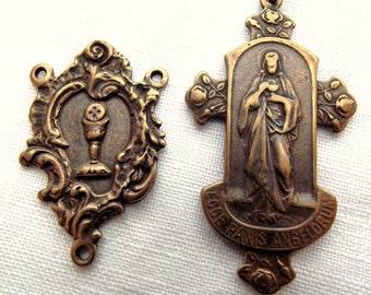 Bronze Blessed Sacrament Monstrance Medal Set