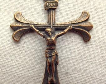 Bronze Crucifix Elegant Flared