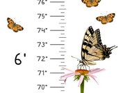 Growth Chart featuring Butterflies - archival ink on removable and reusable adhesive fabric