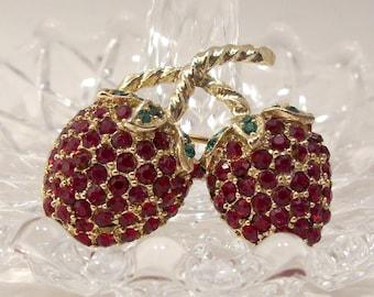 Red Rhinestone Strawberry Pin