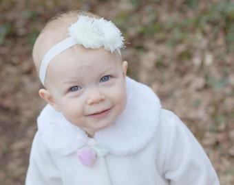 Ivory headband..baby girls ivory headband..girls ivory headband..ivory headbands..newborn headbands..baby girls headbands
