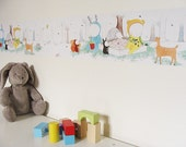 Kids wallpaper : self adhesive border - kids wall art - nursery decor - wallpaper for walls