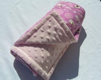 SALE Minky blanket/ owls baby blanket/ stroller blanket/ pink and purple blanket