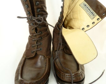 90s Patrick Cox Wannabe brown boots lace up nylon and leather ghurka military style: EU 37.5/ US 7
