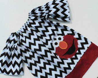 Custom Boutique Black Chevron Elmo Peasant dress   Sizes  6-12mo, 12-18mo, 18-24mo, 2t, 3t, 4t, 5t