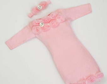 Infant Layette Pink Baby Gown w Shabby Chiffon Flowers and Rhinestones