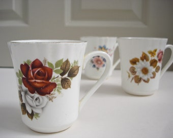 China Mug Set - Floral Design Mugs - Set of 3