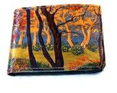 Slim Leather Wallet with Gustav Klimt Forest Design, Ladies Leather Wallet, Slim Leather Clutch, Wallet with tree design, Art Nouveau
