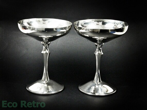 Chic Elegant Vintage Spanish Silver Plated Champagne Saucers Glasses by Valero