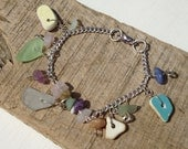 Beach pottery, sea glass and stone charm bracelet