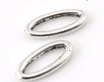 """10 Antique Silver Oval Connector Charms - 16mm x 7mm ( 5/8"""" x 2/8"""") - Silver Connectors (B21717)"""