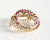 Vintage White and Pink Rhinestone Entwined Circles Brooch