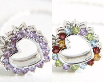 Sterling Silver Reversible Rhinestone Heart Pendant Necklace