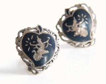 Vintage Siam Sterling Silver Heart Earrings