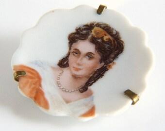 Limoges Portrait Brooch - Ladies Limoges Porcelain Brooch Pin