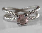 Natural Pink Tourmaline Engagement Sterling Silver Ropes Ring Size 6.75