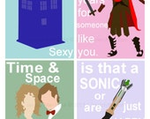 Set of 4 Dr Who Valentines Cards Ready to Ship  Includes: Dr Who & River,Rory, Tardis, Sonic Screwdriver