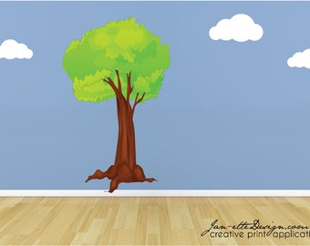 Large Tree Wall Decal,Removable and Repsoitionable FABRIC Wall Decals for Kids Rooms