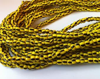 Yellow & Black Handmade African Waist Bead (Very Thick) *per one strand*