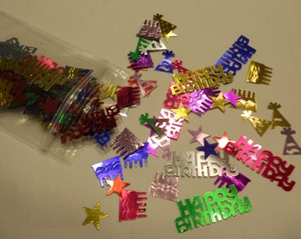 bag of assorted Happy Birthday, Hat and Cake confetti / sequins 8 - 30 mm