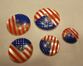 5 piece American Flag button mix, 13-23 mm (38)