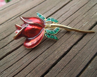 Vintage Flower Brooch,  Gold Tone with Red and Green Enamel, Rose