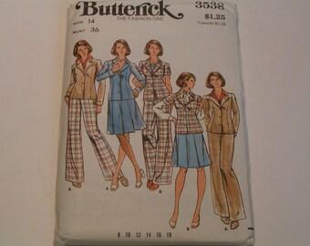 Vintage Butterick Pattern 3538 Miss Jacket Skirt Pants