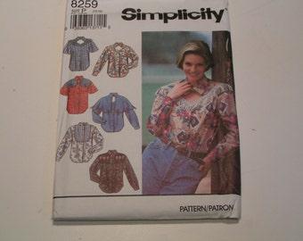 Vintage Simplicity Pattern 8259 Miss Shirts