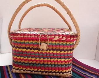 Vintage Multicolored Square Global Basket